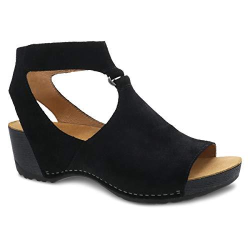 Dansko Women's Taylin Black Burnished Suede Sandal 5.5-6 M US