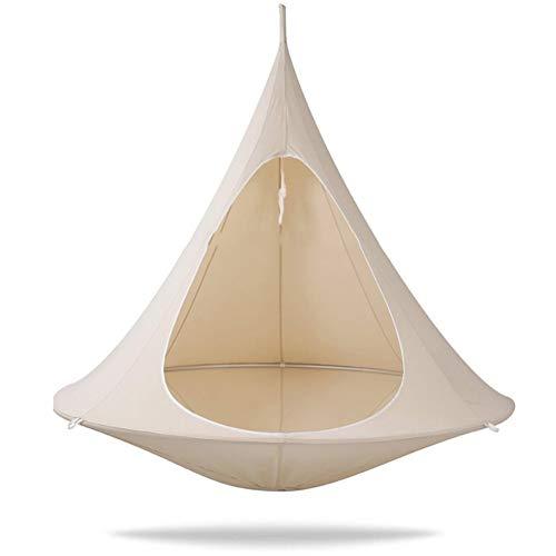 Double Hängesessel Form Konisch Zelt-Hängende Silkworm Cocoon Stuhl 600D Oxford Stoff Indoor Outdoor Hammock, Tragkraft Bis 200KG,Weiß,39.4