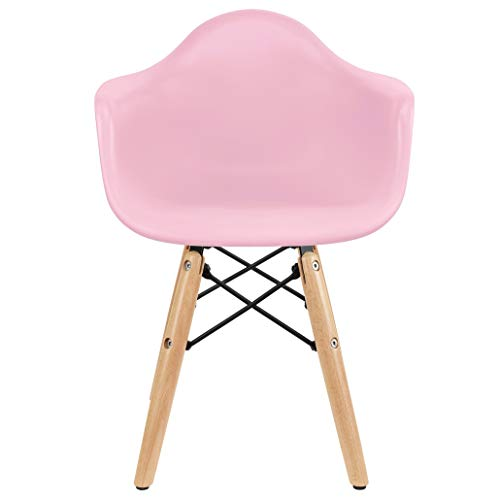 2xhome - Kids Size Plastic Toddler Armchair with Natural Wooden Dowel Legs, Pink