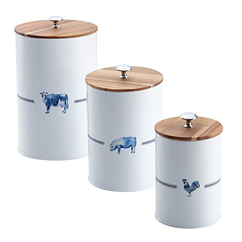 Paula Deen Pantryware Food Storage Container Set / Food Storage Jar Set - 3 Piece, Country Barnyard