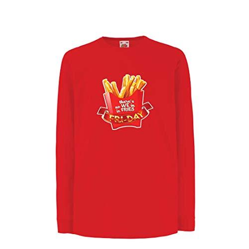 lepni.me Camiseta para Niño/Niña No Hay Nosotros con Patatas Fritas, Ropa de Viernes, Amante de la Comida chatarra (7-8 Years Rojo Multicolor)