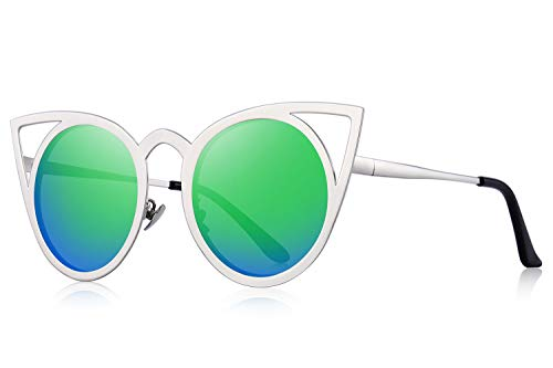 MERRY'S Cat Eye Sunglasses Round Metal Cut-Out Flash Mirror Lens Metal Frame Sun glasses S8064 (Green, 50)