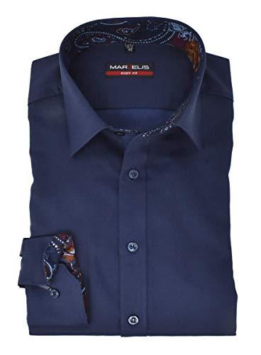 Marvelis Body Fit Hemd New Kent Kragen mit Besatz bügelleicht Uni Dunkelblau Reine Baumwolle, Größe:39