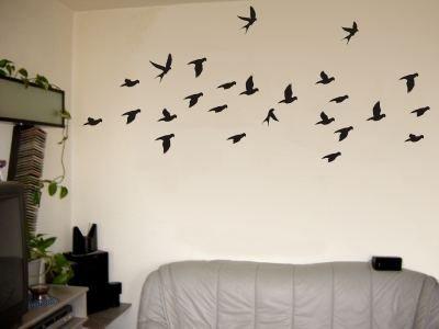 Wandtattoo / Wandaufkleber sehr grosses Vogelschwarm-Motiv; Farbe Schwarz