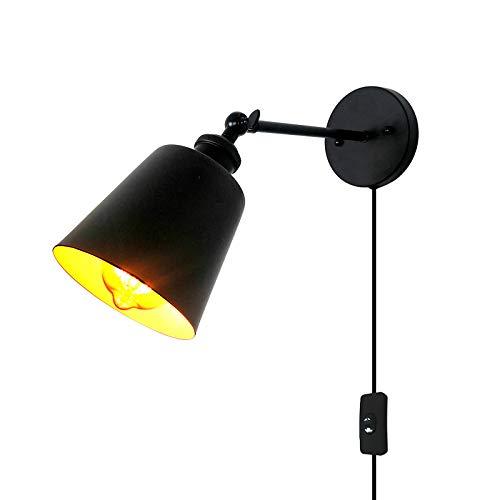 LXHK Lámpara de Pared Vintage Retro de Diseño Industrial, Aplique Pared con Enchufe y Interruptor, Lampara de Noche Dormitorio Inoxidable Negro, Aplique Giratorio Pared para Salón Oficina, E27,Bs