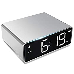 NOKLEAD Metal Digital Alarm Clock -4 Brightness LED Display,Snooze 12/24H, Adapter Power with Backup Battery, Easy Operated for Kids Seniors , Small Desk Clocks for Bedroom Travel Office (Silver)