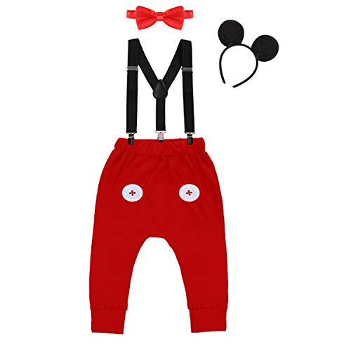 Baby Boys First Birthday Costume Cake Smash Outfits Suspenders Bloomers Bowtie Mouse Ear Photography Props 4PCS Set 001 Red Buttons 12-18 Months