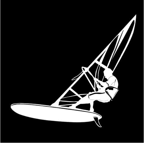 Bhysfenhgttvv 5 Piezas Pegatina para Coche 17,5 cm * 15,8 cm velero Windsurf Deportes acuáticos Pegatinas para Coche Blanco
