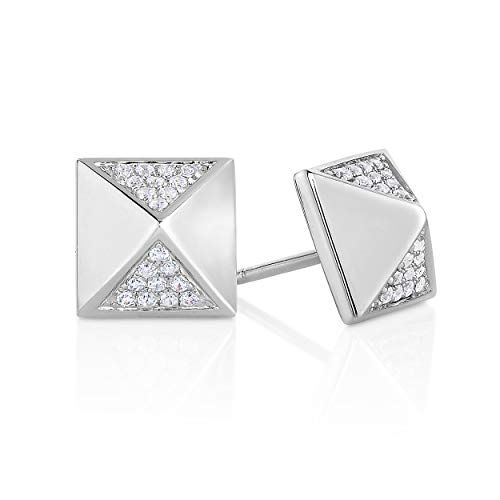 NATALIA DRAKE 1/10 Cttw Diamond Pyramid Earrings for Women in Rhodium Plated Sterling Silver (Color I-J / Clarity I2-I3)