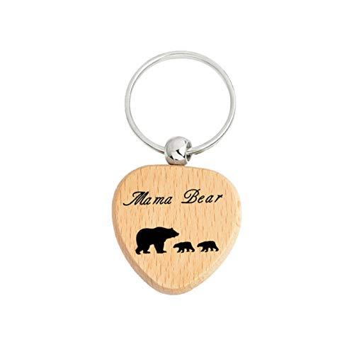 Anyiruo Cálida moda letras mamá oso madre oso oso 1-3 bebé oso madera llavero día madre madre esposa joyería regalo
