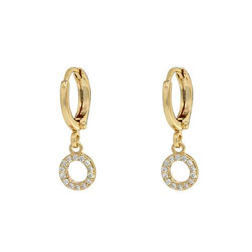 Damen Ohrringe mit Kreis Anhänger, 18K Vergoldet Creolen Klein mit Zirkonia Steinen