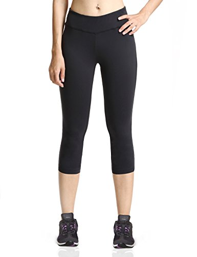 Baleaf Women's Yoga Capri Pants Compression Tights Running Legging Hidden Pocket Black Size L
