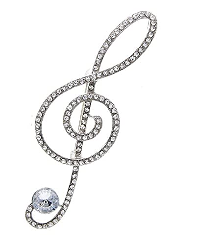 bijouxmodefashion Large Music Treble Clef Brooch Pin Silver and White Rhinestones
