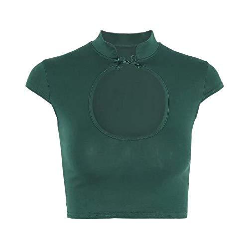 NOBRAND Sexy Button Chest Hollow Short Sleeve Top Sommer Open Navel Short T-Shirt für Frauen Gr. M, grün