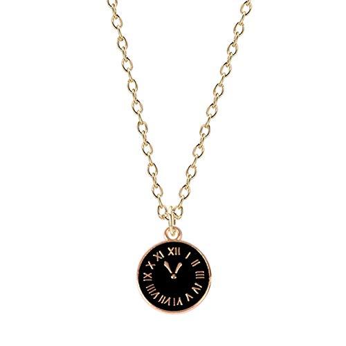 JUDVDX Moda para Hombres y Mujeres Collar en Blanco y Negro Reloj Redondo Colgante Estilo Bohemio Simple Charm Joyería Regalo de cumpleaños (Metal Color : B)