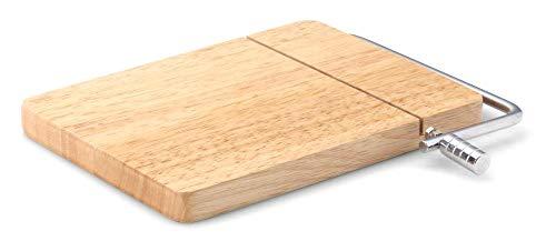 Continenta Käseschneider, Käse Schneidebrett, Käsebrett aus Gummibaumholz, Größe: 24 x 17,5 x 2 cm