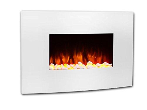 Chimenea eléctrica Egton blanca con pantalla curvada, 220/240 Vac, 1 & 2kW, control remoto programable de 7 días (W 910mm x H 580mm x D 180mm)