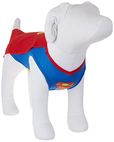 DC Comics Superman Dog Costume, Extra Small (XS)   Superhero Costume for Dogs   Red and Blue Dog Halloween Costumes for Small Dogs with Superman Cape   See Sizing Chart for Details