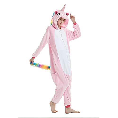 Kenmont Tier Schlafanzug Cosplay Kostüm Einhorn Pyjama Tierkostüme Jumpsuits Erwachsene Nachthemden Overall Plüschtier (S, Pink)