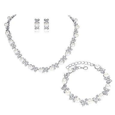 SHUAIGUO Schmuckset Damen Strass Künstliche Perle Schmuck-Set 1 Halskette 1 Armreif Ohrringe - Elegant Modisch Europäisch Blume Schmuckset Für Hochzeit Party, Silver