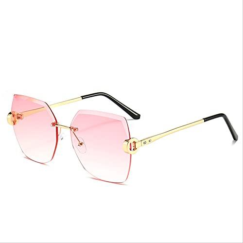 ZHANGMINGXI Gafas De Sol Para Mujer, Ribetes Metálicos Sin Montura, Gafas De Tiro Callejero, Gafas De Sol Con Protección Solar, Protección Uv Polvo de marco dorado