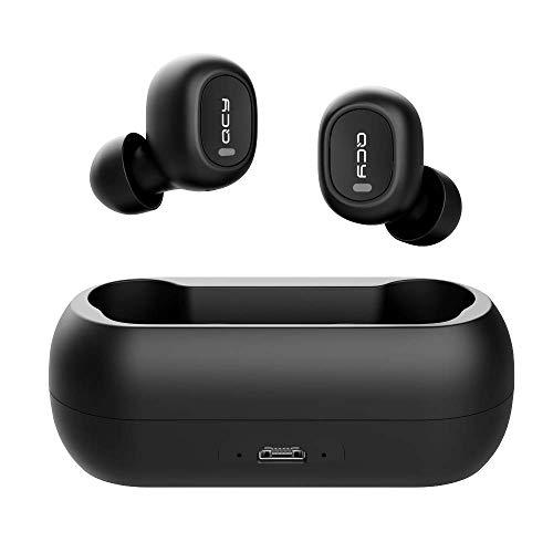 Fones de ouvido sem fio, QCY sem fio Bluetooth Fones de ouvido com som estéreo 3D 5.0 com microfone embutido, fone de ouvido de emparelhamento instantâneo com capa de carregamento portátil para todos os sistemas móveis