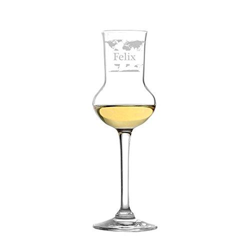polar-effekt edles Grappaglas 87ml - Stölzle Lausitz in hochwertige Qualität - Grappakelch wie mundgeblasen Personalisiert mit Gravur - Geschenk-Idee zum Geburtstag - Motiv Weltkarte