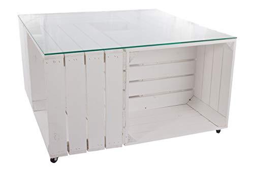 1 x houten tafel in wit van kisten, met glasplaat, opbergruimte, dankzij wieltjes gemakkelijk te verplaatsen, loungemeubel, terras, nieuw, 81 x 81 x 44 cm