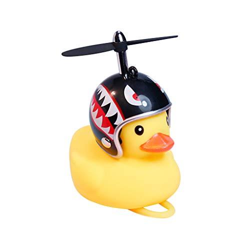 Huyiko - Entenklingel, Fahrradklingel, Duck Bell, mit Helm, kleine Ente, Gelb, MTB, Rennrad, Motorrad, Reithelm, Fahrradzubehör