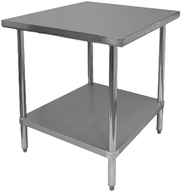 GSW Commercial Flat Top Work Table With Stainless Steel Top 1 Galvanized Undershelf Adjustable Bullet Feet 24 W X 24 L X 35 H NSF Approved