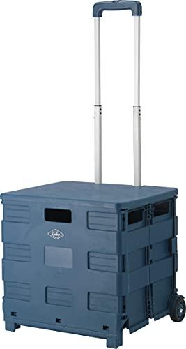 不二貿易 折りたたみ キャリーカート 蓋付き アウトドア 幅45cm ネイビー 耐荷重30kg 86441 Lサイズ