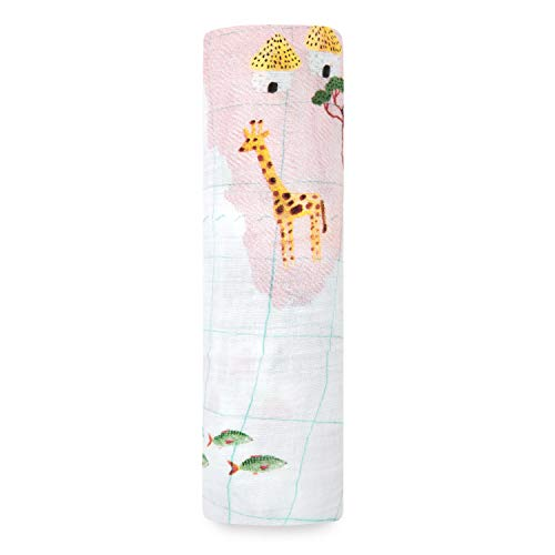 aden + anais Swaddle Blanket, Boutique Muslin Blankets for Girls & Boys, Baby Receiving Swaddles, Ideal Newborn & Infant Swaddling Set, Perfect Shower Gifts, Single, Around The World