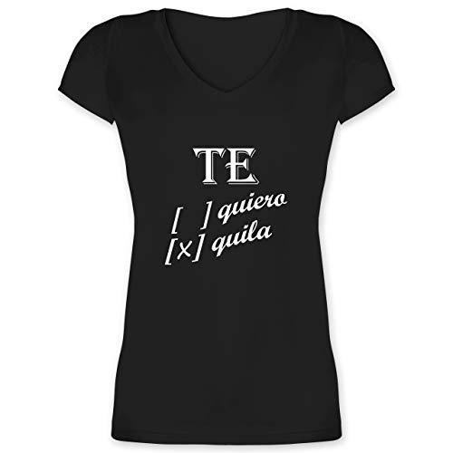 Statement - Te Quiero, Tequila - M - Schwarz - Fun - XO1525 - Damen T-Shirt mit V-Ausschnitt