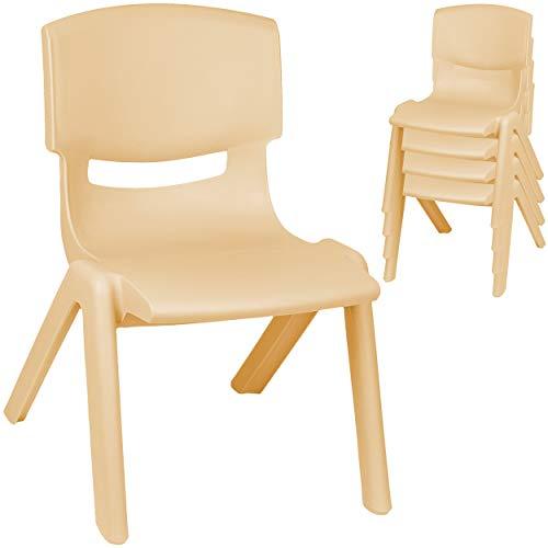 alles-meine.de GmbH 4 Stück - Kinderstühle / Stühle - Farbwahl - Holz Farben - beige - Plastik - bis 100 kg belastbar / kippsicher - für INNEN & AUßEN - 0 - 99 Jahre - stapelbar ..