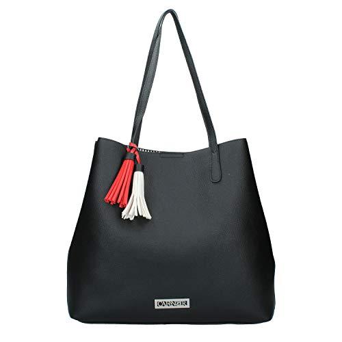 Shopping CafèNoir BJ892 borsa donna con nappine e tracolla con infilature