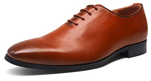 JOUSEN Men's Dress Shoes Plain Toe Oxford Modern Formal Shoes for Men Business Derby Shoes (AMY201,9.5,Red Brown)
