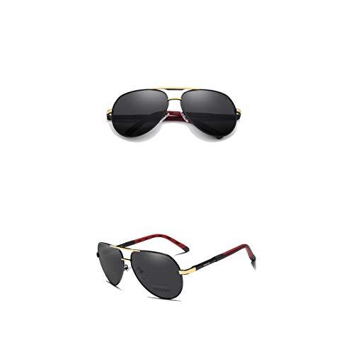 Kingseven Sonnenbrille | Mens Vintage Pilot - Polarisiert (Gold - Schwarz)