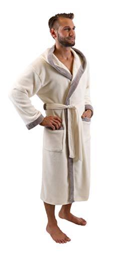 Betz Bademantel Morgenmantel Saunamantel mit Kapuze Damen Herren Unisex Wellness- Hotel- Bademäntel Farbe beige Größe XL