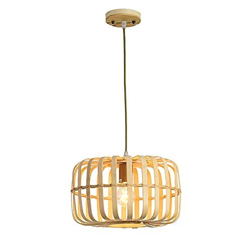 Lanterna antica Illuminazione a sospensione Lanterna di bambù Luce intrecciata Soffitto in legno naturale Lampada da soffitto beige con cavo regolabile per sala da pranzo Soggiorno Ristorante-13 polli