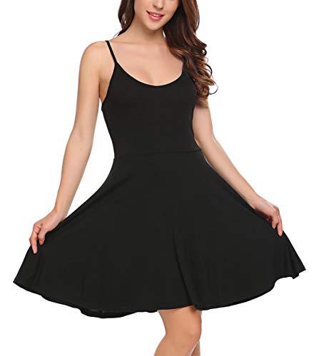 UNibelle Damen Ärmelloses Beiläufiges Strandkleid Sommerkleid Kleid Ausgestelltes Trägerkleid Knielang