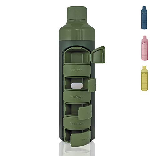 YOS Health Bottle 375ml Drinkfles met pillendoos (Weekly, Groen)