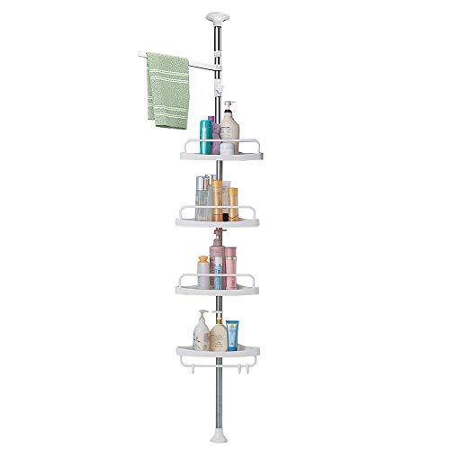 Organizador de ducha, 4 estantes posicionables, a prueba de óxido, fuerte y resistente, color blanco, altura ajustable de 4.7 a 9.3 pies