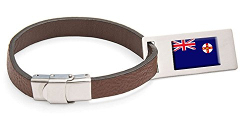 New South Wales Flag Leather Luggage Tag Steel Engraved Text