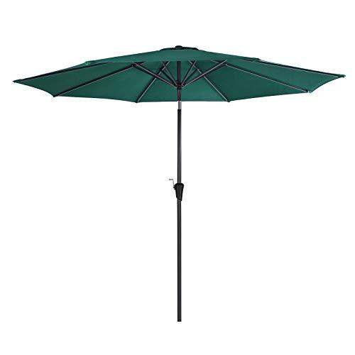 SONGMICS Sonnenschirm, Ø 300 cm, Marktschirm, UV-Schutz UPF 50+, Gartenschirm, Terrassenschirm, Sonnenschutz, mit Kurbel, ohne Ständer, Outdoor, für Garten, Balkon und Terrasse, Grün GPU30GN