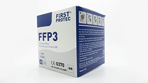 FirstProtec Mascarilla FFP3 99% de protección | Mascarilla de 5 capas | Caja de 20 uds | Homologada Tipo III Certificado Oficial CE