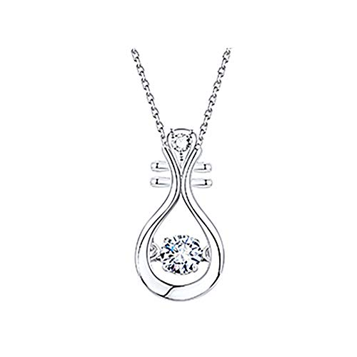 Hins Personalised Necklace for Women, Creative Lute Sports Necklace, Fashion Diamond Love Elegant Rhinestone Pendant Jewelry Gift for Wife, Mum and Girlfriend