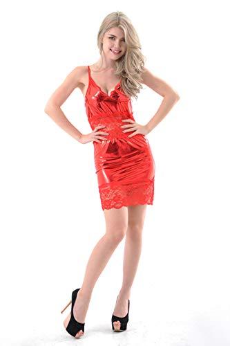 Vestido De Charol Para Mujer Ropa Interior Erótica Falda Halter Sexy Ajustada Pijama Casero Traje De Pasión Adecuado Para Representaciones Teatrales De Fiestas Nocturnas