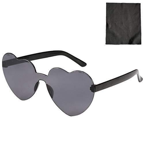 YWLI Herz Sonnenbrille Retro farbige Gläser Brille Herzform Valentinstag Karneval Party Brille für Frauen Männer (H)