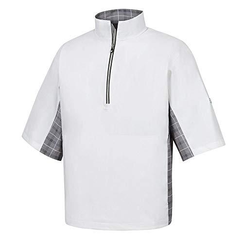 FootJoy Men's Hydrolite Short Sleeve Rain Shirt - White/Grey Check/Black - Previous Season Style (Large)