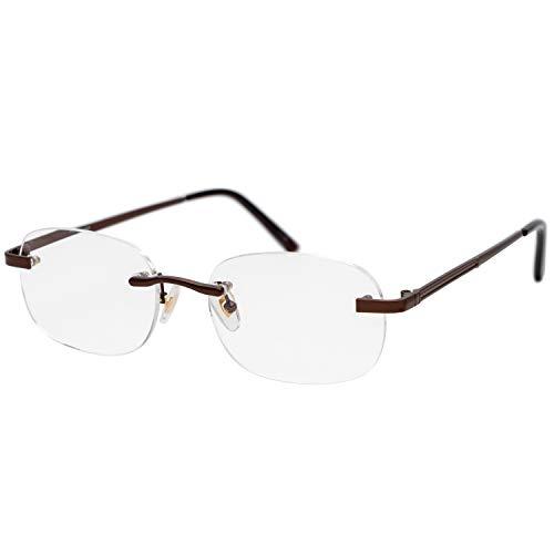 藤田光学 老眼鏡 メンズ 2.0 度数 ふちなし バネ蝶番 ブラウン RK-01+2.00